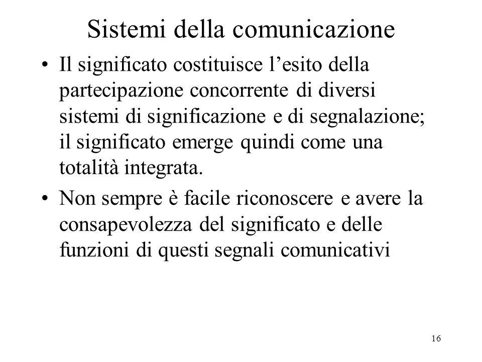 16 Sistemi della comunicazione Il significato costituisce l'esito della partecipazione concorrente di diversi sistemi di significazione e di segnalazi