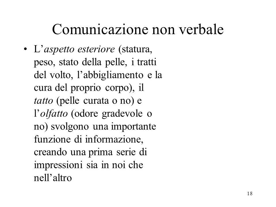18 Comunicazione non verbale L'aspetto esteriore (statura, peso, stato della pelle, i tratti del volto, l'abbigliamento e la cura del proprio corpo),