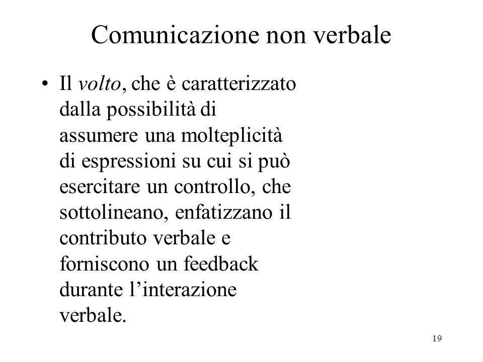 19 Comunicazione non verbale Il volto, che è caratterizzato dalla possibilità di assumere una molteplicità di espressioni su cui si può esercitare un
