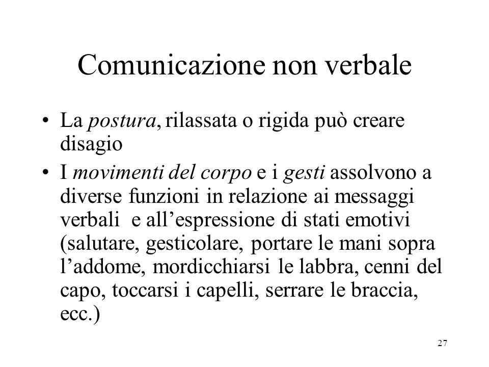 27 Comunicazione non verbale La postura, rilassata o rigida può creare disagio I movimenti del corpo e i gesti assolvono a diverse funzioni in relazio