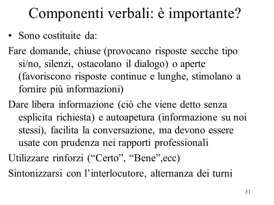 31 Componenti verbali: è importante? Sono costituite da: Fare domande, chiuse (provocano risposte secche tipo si/no, silenzi, ostacolano il dialogo) o