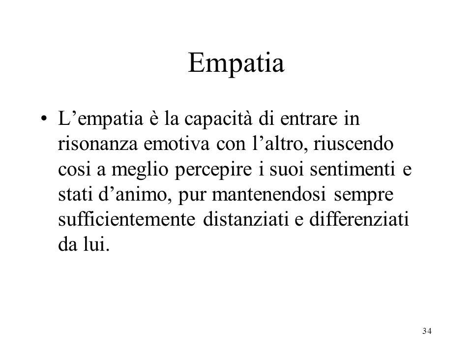 34 Empatia L'empatia è la capacità di entrare in risonanza emotiva con l'altro, riuscendo cosi a meglio percepire i suoi sentimenti e stati d'animo, p