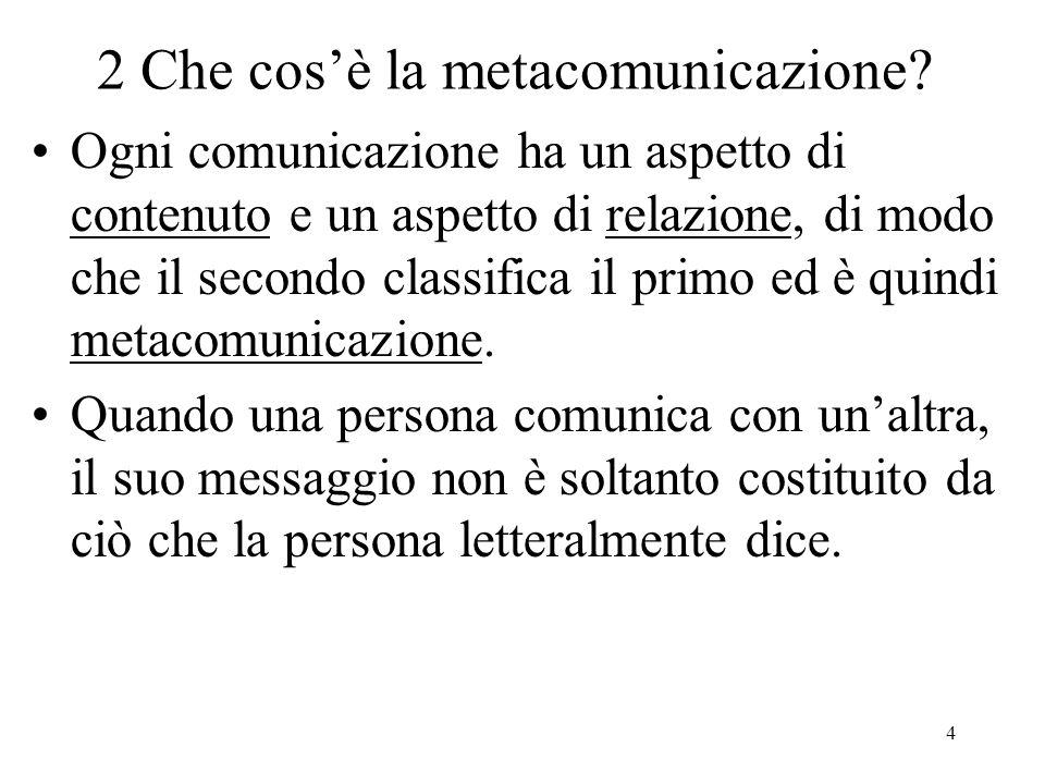 4 2 Che cos'è la metacomunicazione? Ogni comunicazione ha un aspetto di contenuto e un aspetto di relazione, di modo che il secondo classifica il prim