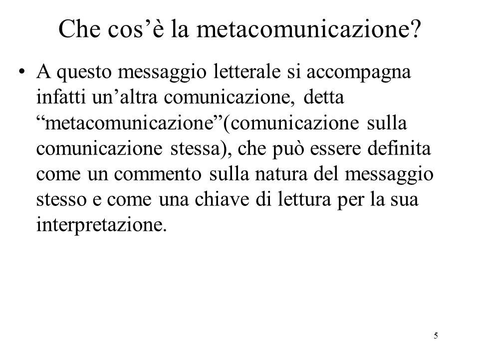 6 Che cos'è la metacomunicazione.