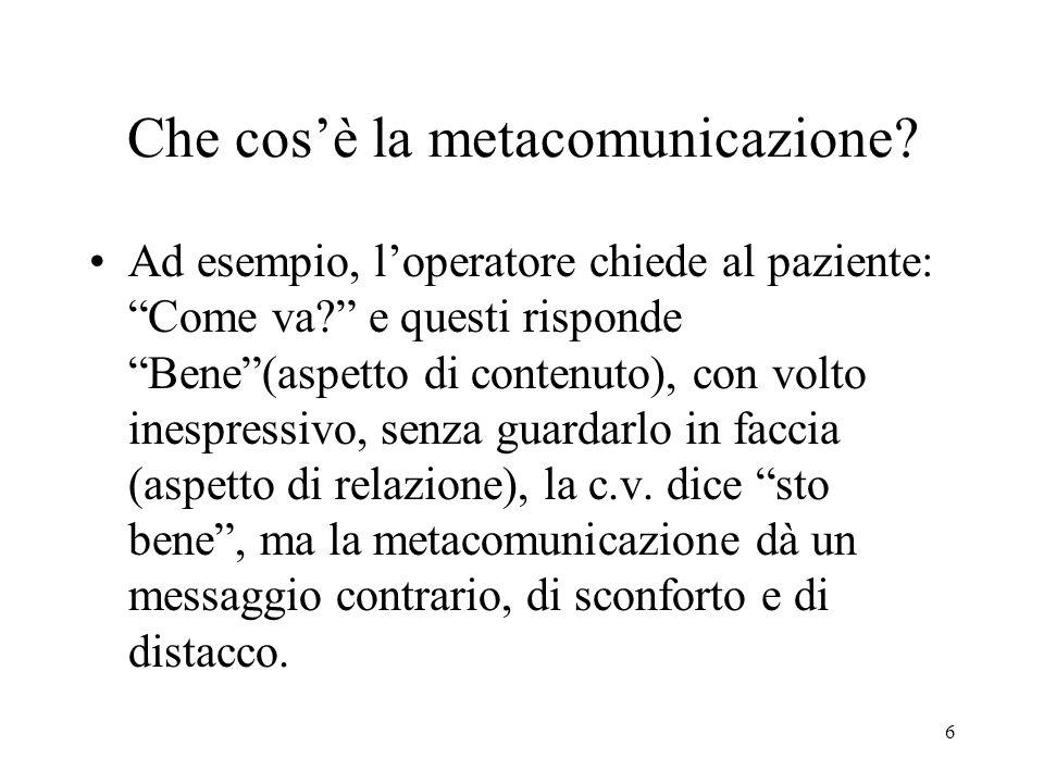 """6 Che cos'è la metacomunicazione? Ad esempio, l'operatore chiede al paziente: """"Come va?"""" e questi risponde """"Bene""""(aspetto di contenuto), con volto ine"""