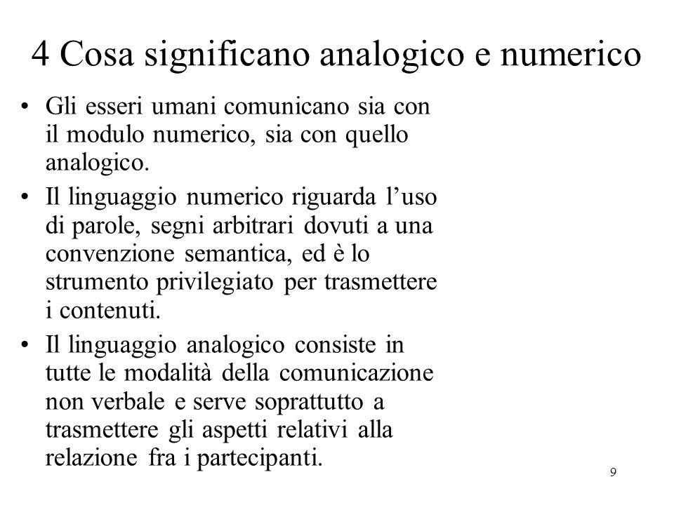 9 4 Cosa significano analogico e numerico Gli esseri umani comunicano sia con il modulo numerico, sia con quello analogico. Il linguaggio numerico rig