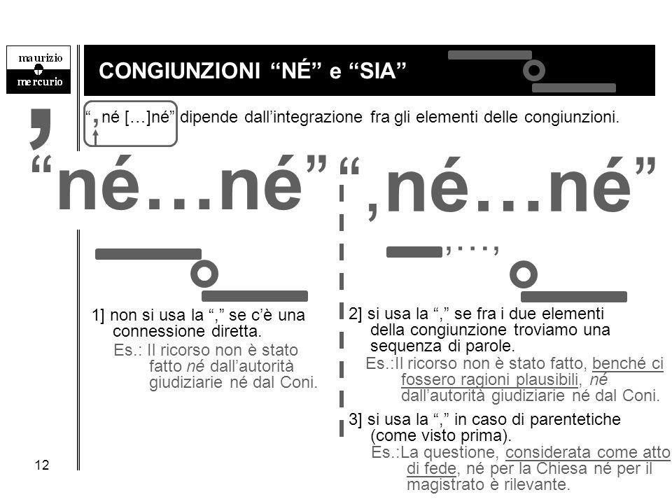 """12 CONGIUNZIONI """"NÉ"""" e """"SIA"""" """", né […]né"""" dipende dall'integrazione fra gli elementi delle congiunzioni. Es.:Il ricorso non è stato fatto, benché ci f"""