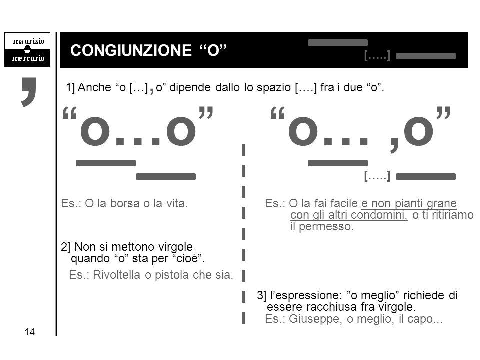 """14 CONGIUNZIONE """"O"""" 1] Anche """"o […], o"""" dipende dallo lo spazio [….] fra i due """"o"""". """"o…o""""""""o…,o"""" […..] Es.: O la borsa o la vita.Es.: O la fai facile e"""