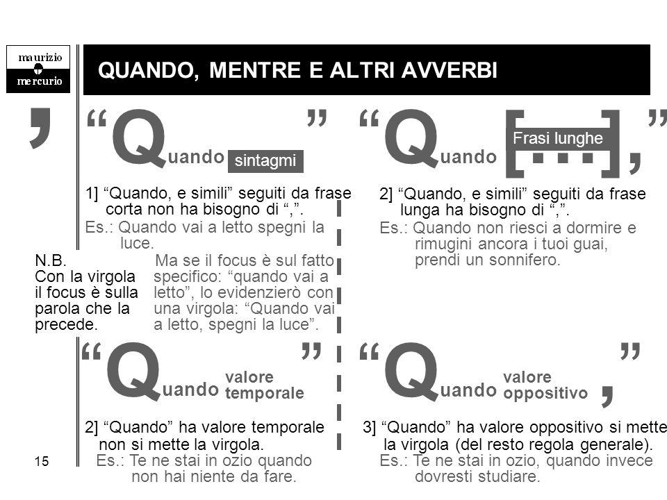 """15 QUANDO, MENTRE E ALTRI AVVERBI """"Q uando […],""""""""Q uando """" sintagmi Frasi lunghe 1] """"Quando, e simili"""" seguiti da frase corta non ha bisogno di """","""". E"""
