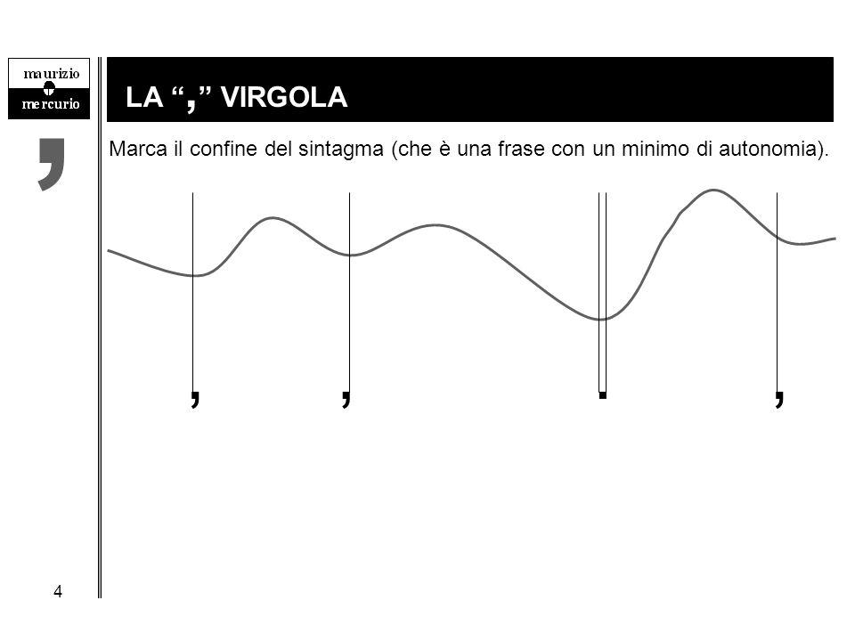"""4 LA """", """" VIRGOLA, Marca il confine del sintagma (che è una frase con un minimo di autonomia).,,.,"""
