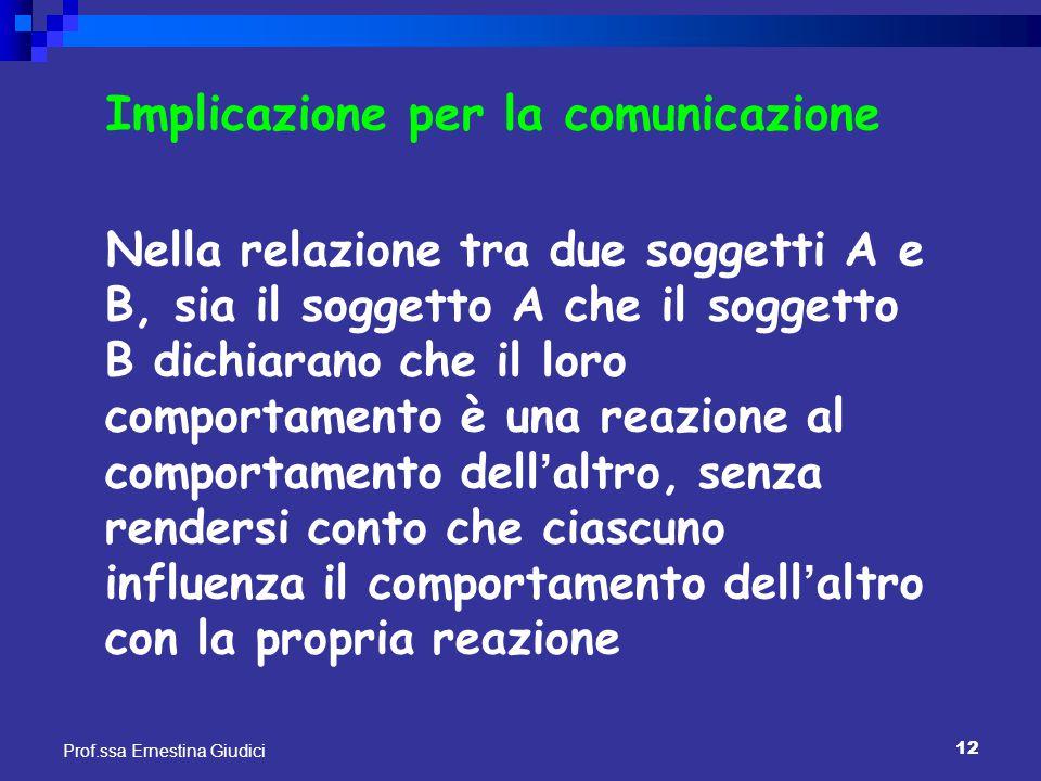 12 Prof.ssa Ernestina Giudici Implicazione per la comunicazione Nella relazione tra due soggetti A e B, sia il soggetto A che il soggetto B dichiarano