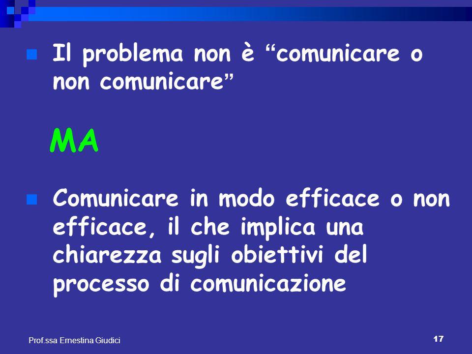 """17 Prof.ssa Ernestina Giudici Il problema non è """" comunicare o non comunicare """" MA Comunicare in modo efficace o non efficace, il che implica una chia"""
