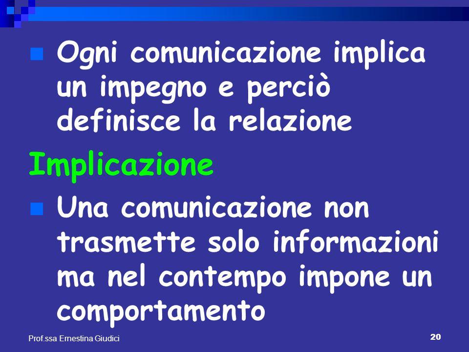 20 Prof.ssa Ernestina Giudici Ogni comunicazione implica un impegno e perciò definisce la relazione Implicazione Una comunicazione non trasmette solo