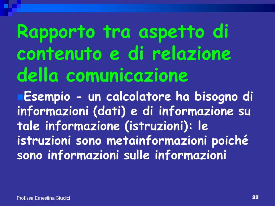 22 Prof.ssa Ernestina Giudici Rapporto tra aspetto di contenuto e di relazione della comunicazione Esempio - un calcolatore ha bisogno di informazioni