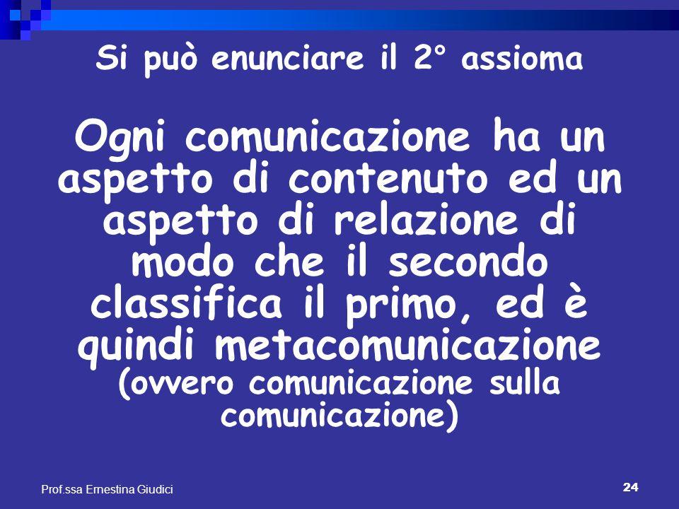 24 Prof.ssa Ernestina Giudici Si può enunciare il 2° assioma Ogni comunicazione ha un aspetto di contenuto ed un aspetto di relazione di modo che il s