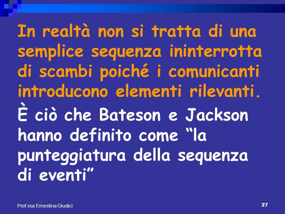 27 Prof.ssa Ernestina Giudici In realtà non si tratta di una semplice sequenza ininterrotta di scambi poiché i comunicanti introducono elementi rileva
