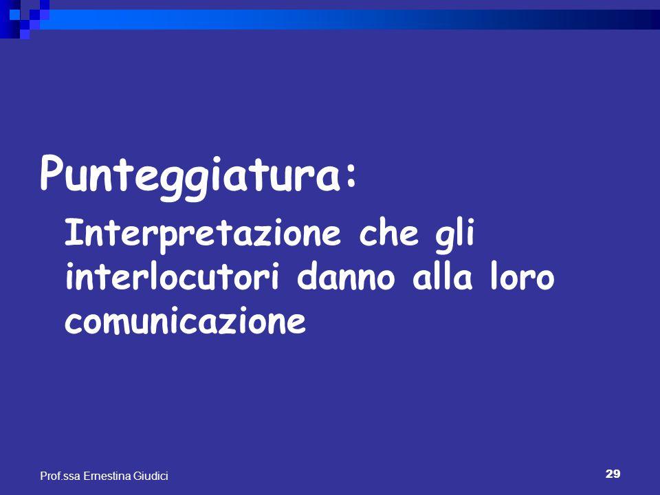 29 Prof.ssa Ernestina Giudici Punteggiatura: Interpretazione che gli interlocutori danno alla loro comunicazione