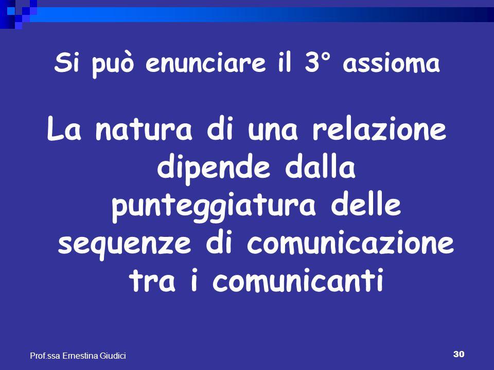 30 Prof.ssa Ernestina Giudici Si può enunciare il 3° assioma La natura di una relazione dipende dalla punteggiatura delle sequenze di comunicazione tr