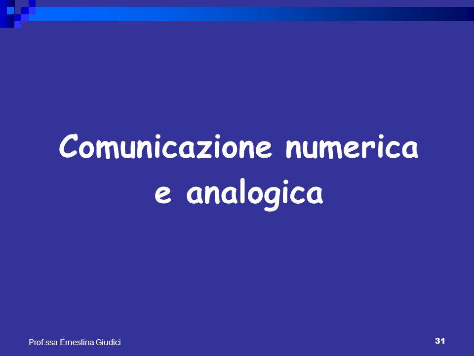 31 Prof.ssa Ernestina Giudici Comunicazione numerica e analogica