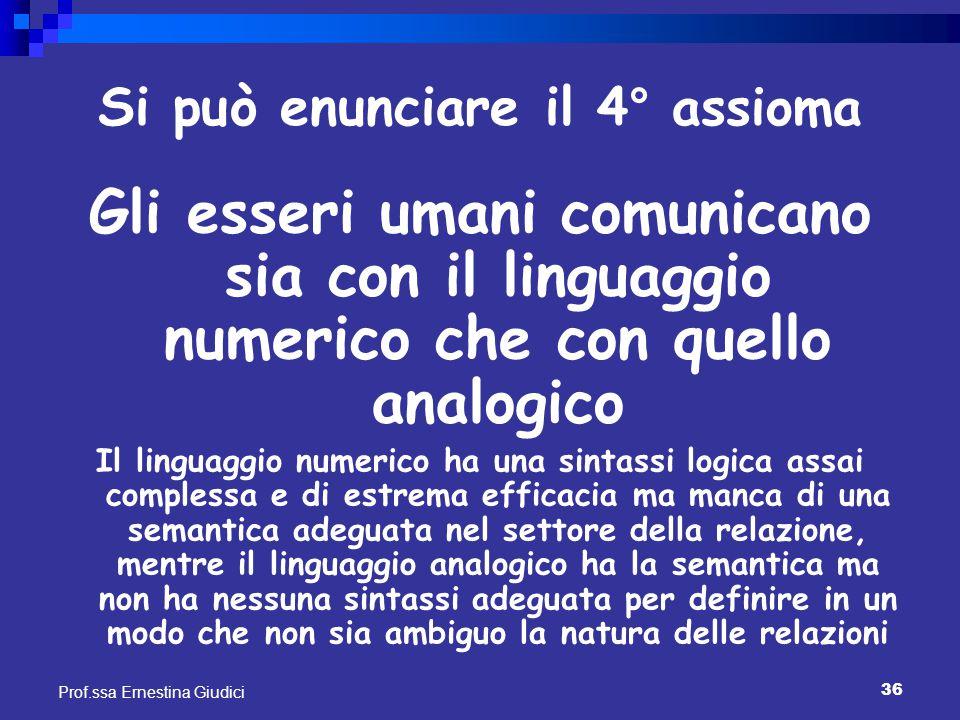 36 Prof.ssa Ernestina Giudici Si può enunciare il 4° assioma Gli esseri umani comunicano sia con il linguaggio numerico che con quello analogico Il li