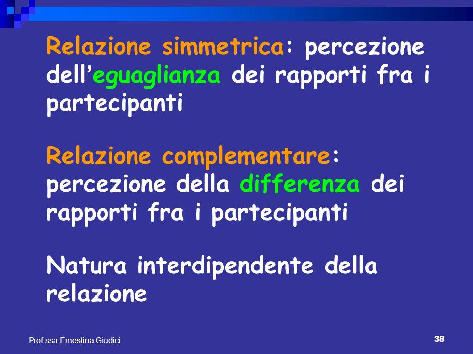 38 Prof.ssa Ernestina Giudici Relazione simmetrica: percezione dell ' eguaglianza dei rapporti fra i partecipanti Relazione complementare: percezione
