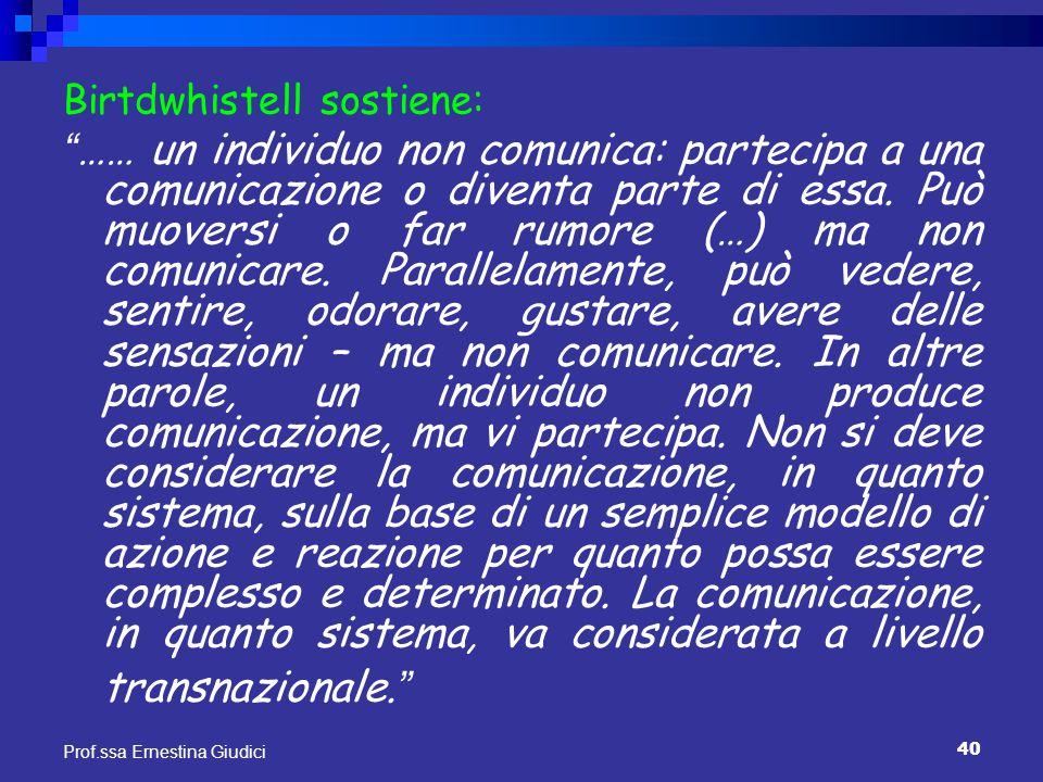 """40 Prof.ssa Ernestina Giudici Birtdwhistell sostiene: """" …… un individuo non comunica: partecipa a una comunicazione o diventa parte di essa. Può muove"""