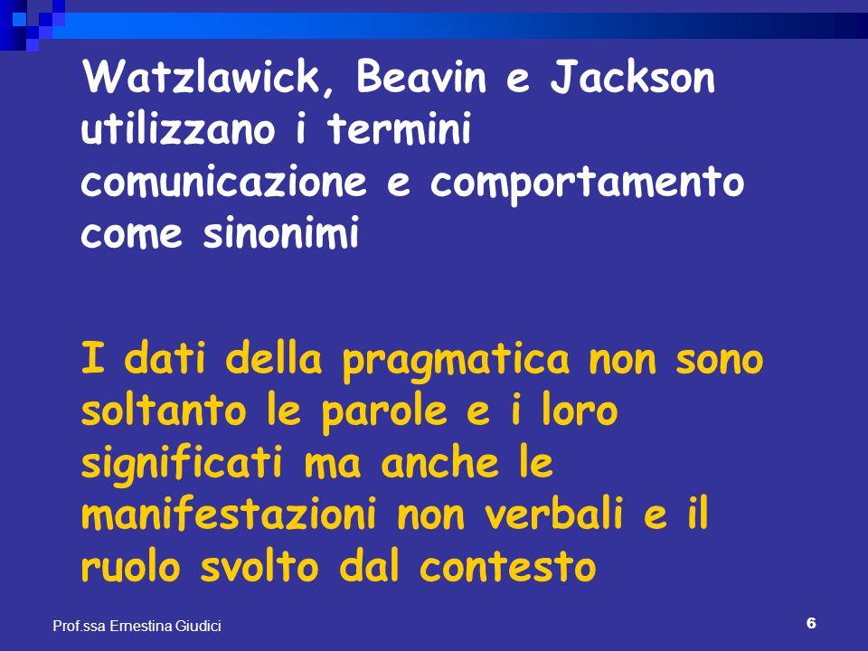 6 Prof.ssa Ernestina Giudici Watzlawick, Beavin e Jackson utilizzano i termini comunicazione e comportamento come sinonimi I dati della pragmatica non