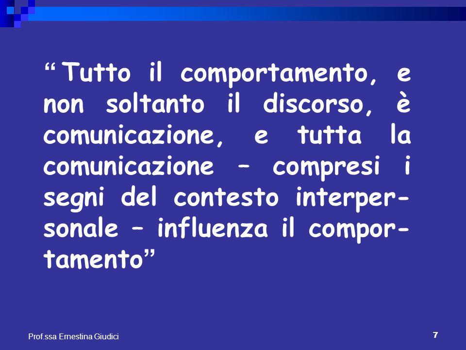"""7 Prof.ssa Ernestina Giudici """" Tutto il comportamento, e non soltanto il discorso, è comunicazione, e tutta la comunicazione – compresi i segni del co"""