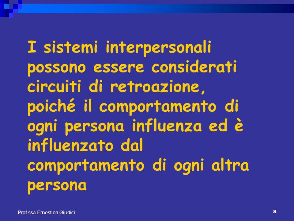 8 Prof.ssa Ernestina Giudici I sistemi interpersonali possono essere considerati circuiti di retroazione, poiché il comportamento di ogni persona infl