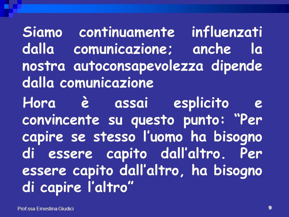 9 Prof.ssa Ernestina Giudici Siamo continuamente influenzati dalla comunicazione; anche la nostra autoconsapevolezza dipende dalla comunicazione Hora