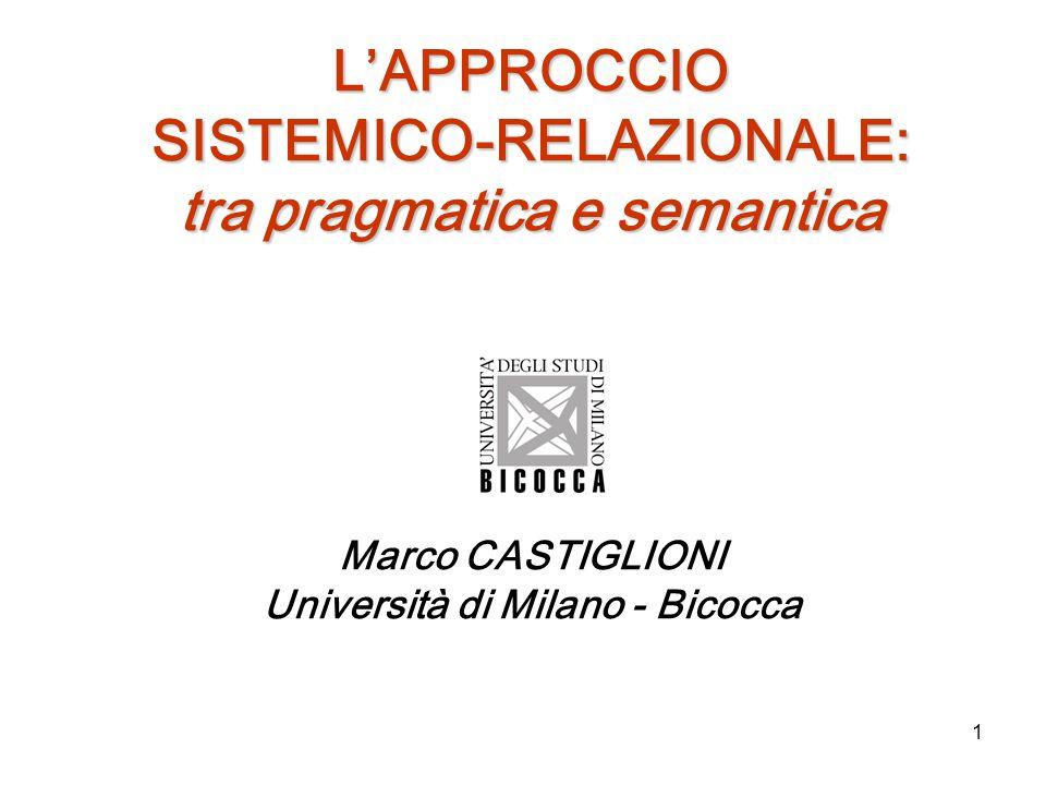1 L'APPROCCIO SISTEMICO-RELAZIONALE: tra pragmatica e semantica Marco CASTIGLIONI Università di Milano - Bicocca