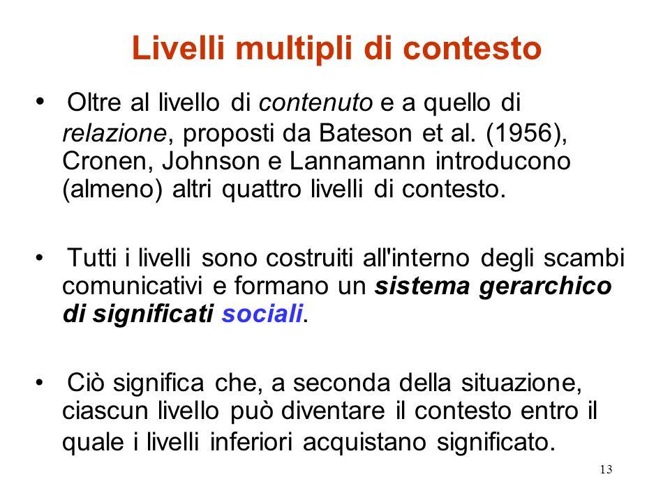 13 Livelli multipli di contesto Oltre al livello di contenuto e a quello di relazione, proposti da Bateson et al. (1956), Cronen, Johnson e Lannamann