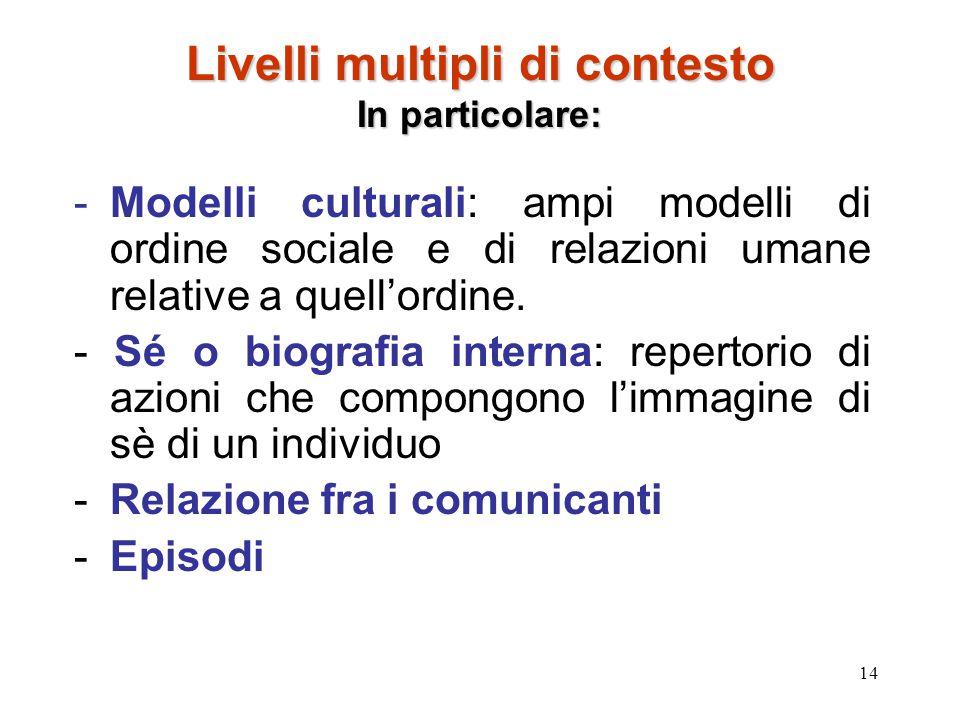 14 Livelli multipli di contesto In particolare: -Modelli culturali: ampi modelli di ordine sociale e di relazioni umane relative a quell'ordine. - Sé