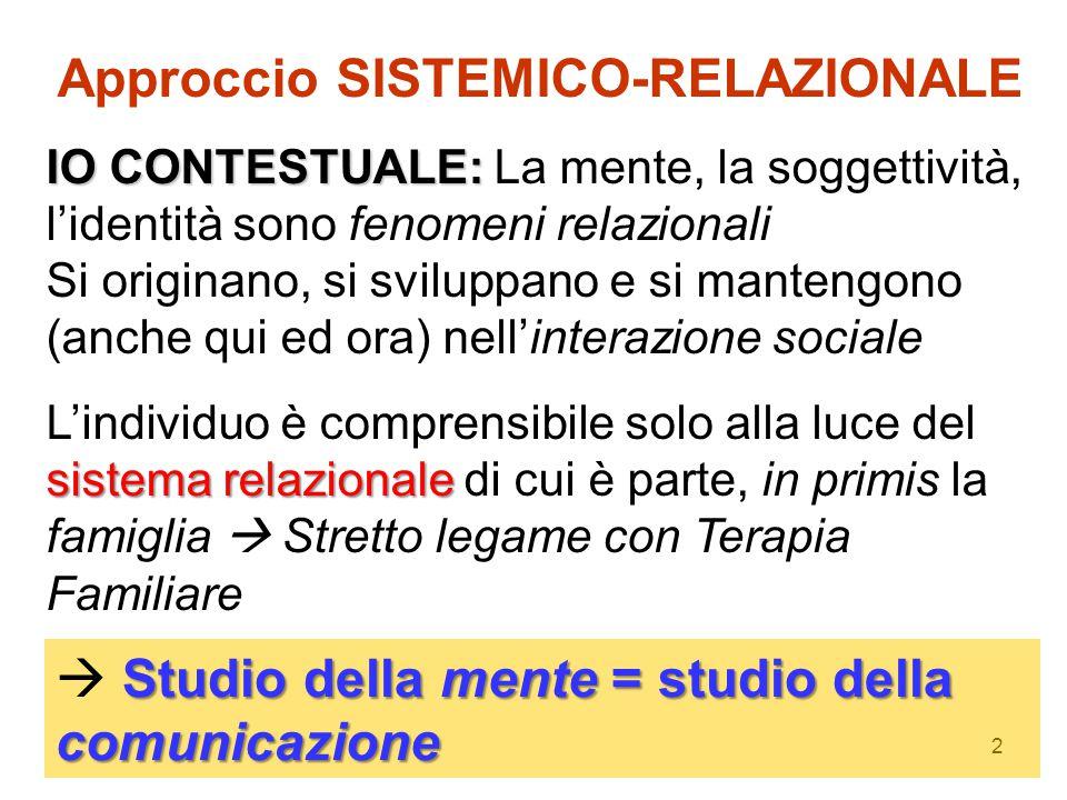 2 Approccio SISTEMICO-RELAZIONALE IO CONTESTUALE: IO CONTESTUALE: La mente, la soggettività, l'identità sono fenomeni relazionali Si originano, si svi