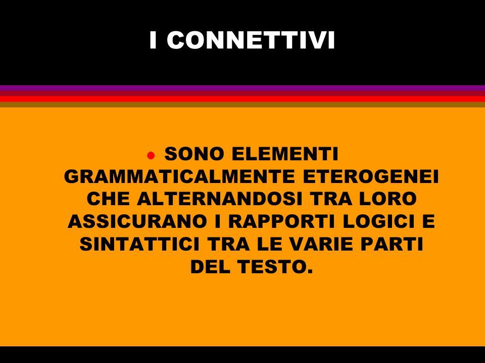 APPARTENGONO ALLA CATEGORIA DEI CONNETTIVI l In primo luogo le congiunzioni della Grammatica Tradizionale .