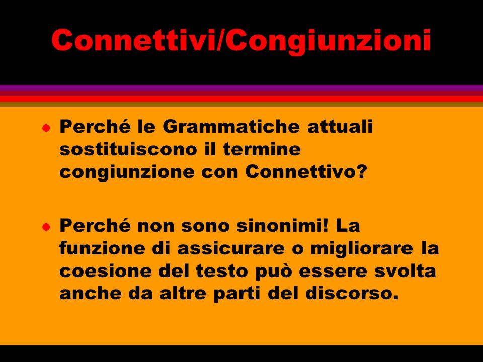 Connettivi/Congiunzioni l Perché le Grammatiche attuali sostituiscono il termine congiunzione con Connettivo? l Perché non sono sinonimi! La funzione