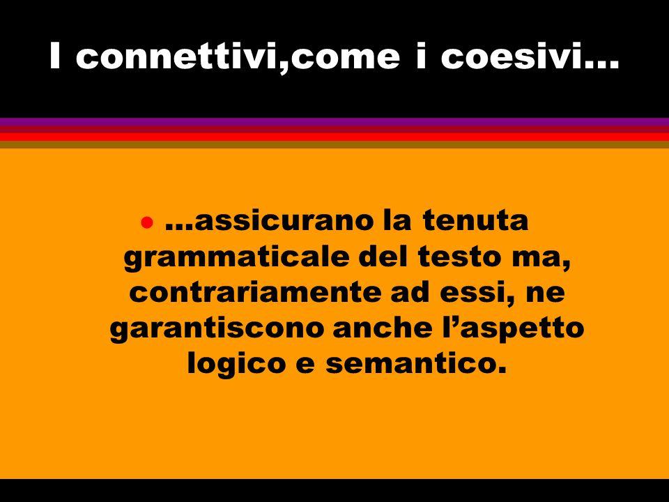 Svolgono funzione di connettivi: l Preposizioni; congiunzioni; avverbi; complementi; locuzioni complesse.