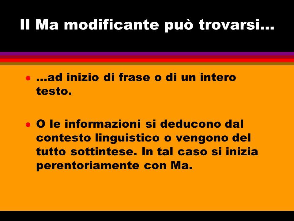 Il Ma modificante può trovarsi... l …ad inizio di frase o di un intero testo. l O le informazioni si deducono dal contesto linguistico o vengono del t