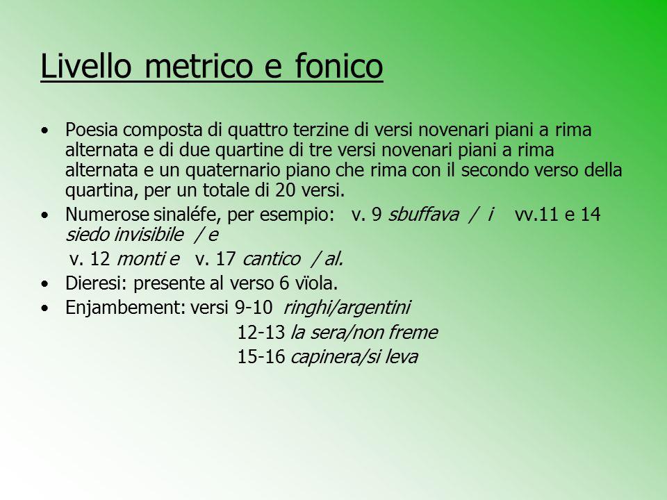 Livello metrico e fonico Poesia composta di quattro terzine di versi novenari piani a rima alternata e di due quartine di tre versi novenari piani a r