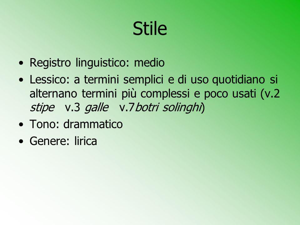 Stile Registro linguistico: medio Lessico: a termini semplici e di uso quotidiano si alternano termini più complessi e poco usati (v.2 stipe v.3 galle