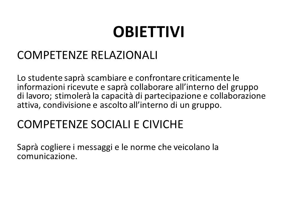 COMPETENZE RELAZIONALI Lo studente saprà scambiare e confrontare criticamente le informazioni ricevute e saprà collaborare all'interno del gruppo di l