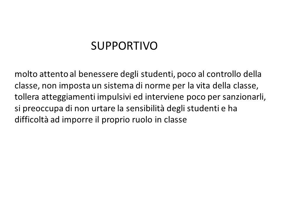 SUPPORTIVO molto attento al benessere degli studenti, poco al controllo della classe, non imposta un sistema di norme per la vita della classe, toller