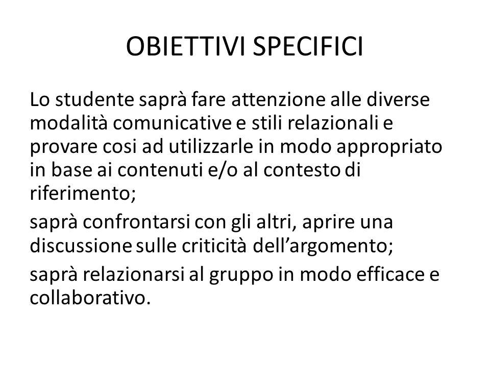 OBIETTIVI SPECIFICI Lo studente saprà fare attenzione alle diverse modalità comunicative e stili relazionali e provare cosi ad utilizzarle in modo app