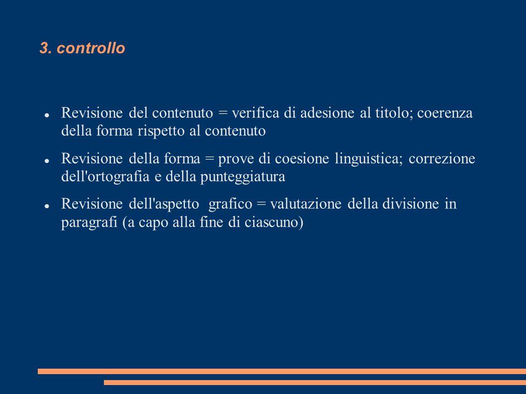 3. controllo Revisione del contenuto = verifica di adesione al titolo; coerenza della forma rispetto al contenuto Revisione della forma = prove di coe