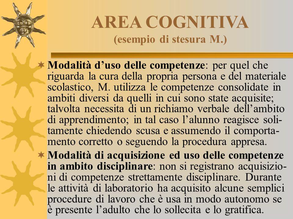 AREA COGNITIVA (esempio di stesura M.)  Modalità d'uso delle competenze: per quel che riguarda la cura della propria persona e del materiale scolasti