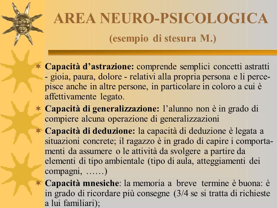 AREA NEURO-PSICOLOGICA (esempio di stesura M.)  Capacità d'astrazione: comprende semplici concetti astratti - gioia, paura, dolore - relativi alla pr