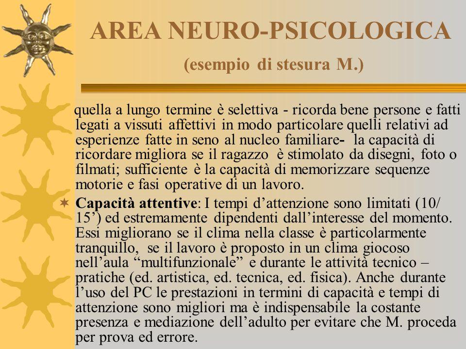 AREA NEURO-PSICOLOGICA (esempio di stesura M.) quella a lungo termine è selettiva - ricorda bene persone e fatti legati a vissuti affettivi in modo pa