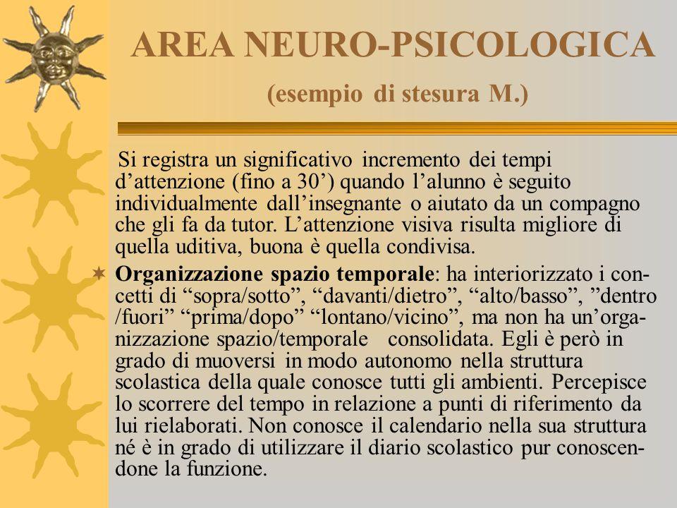AREA NEURO-PSICOLOGICA (esempio di stesura M.) Si registra un significativo incremento dei tempi d'attenzione (fino a 30') quando l'alunno è seguito i