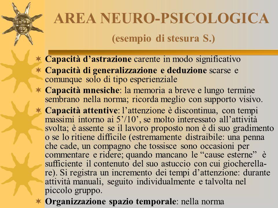AREA NEURO-PSICOLOGICA (esempio di stesura S.)  Capacità d'astrazione carente in modo significativo  Capacità di generalizzazione e deduzione scarse