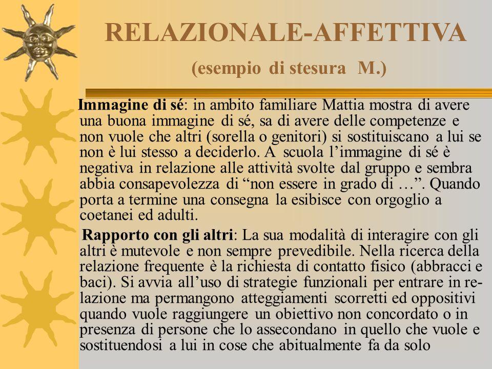 RELAZIONALE-AFFETTIVA (esempio di stesura M.) Immagine di sé: in ambito familiare Mattia mostra di avere una buona immagine di sé, sa di avere delle c